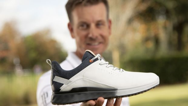 Henrik Stenson: will be wearing special editions of the Danish company's S-Three hybrid footwear at the Masters