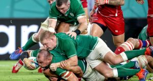 Rhys Ruddock scores  a try for Ireland in the World Cup  against Russia at  Kobe City, Japan. That match against Russia was his  first, and thus far only, competitive start. Photograph: Dan Sheridan/Inpho