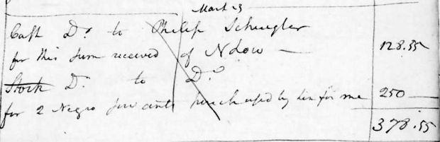 "An entry in Alexander Hamilton's cash book from March 23rd, 1793, listing a payment to Philip Schuyler, his father-in-law, for ""2 Negro servants purchased by him for me"". Photograph: US Library of Congress An entry in Alexander Hamilton's cash book from March 23rd, 1793, listing a payment to Philip Schuyler, his father-in-law, for ""2 Negro servants purchased by him for me"". Photograph: US Library of Congress"