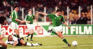 World Cup, Stadio Sant'Elia, Cagliari, Italy,  1990. Ireland's  Kevin Sheedy scores a vital goal. File photograph: Inpho