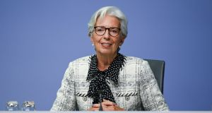"Christine Lagarde: ""The key challenge for policymakers will be to bridge the gap until vaccination is well advanced and the recovery can build its own momentum."" Photograph: EPA"