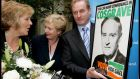 In 2007, then Fine Gael leader Enda Kenny was presented with a Liam Cosgrave election poster from 1973, watched by local candidate Frances Fitzgerald and his wife Fionnuala. Photograph: David Sleator