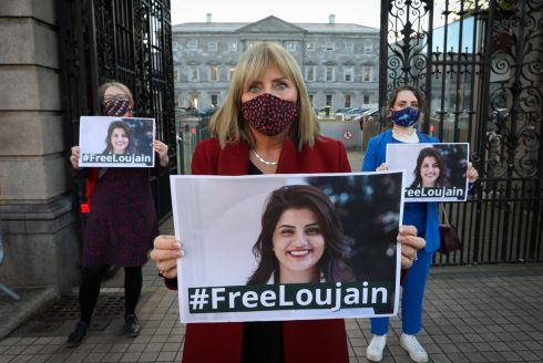 SAUDI PRISONER: Senators Alice Higgins, Frances Black and Annie Hoey demonstrate outside Leinster House, campaigning for the Government to call for the release of Loujain al-Hathloul, a woman Saudi hunger striker who was jailed in Saudi Arabia for driving a car. Photograph: Crispin Rodwell/The Irish Times