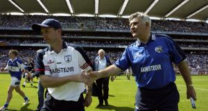 Kildare manager Pádraig Nolan and Laois manager Mick O'Dwyer shake hands at the end of the Leinster SFC semi-final between Kildare and Laois on June 19th, 2005. Photograph: Tom Honan/Inpho