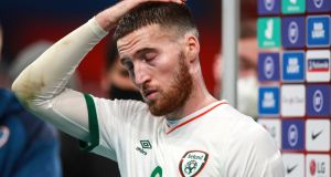 Matt Doherty can't hide his disappointment after the game. Photo: Tommy Dickson/Inpho