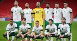 The Ireland team lines up ahead of the international friendly against England at Wembley. Photo Carl Recine/AFP via Getty Images