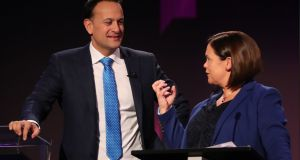 Fine Gael leader Leo Varadkar and Sinn Féin leader Mary Lou McDonald during a  leaders' debate earlier this year. The divide between their parties is now the principal cleavage in Irish politics. Photograph:  Niall Carson/AFP via Getty Images