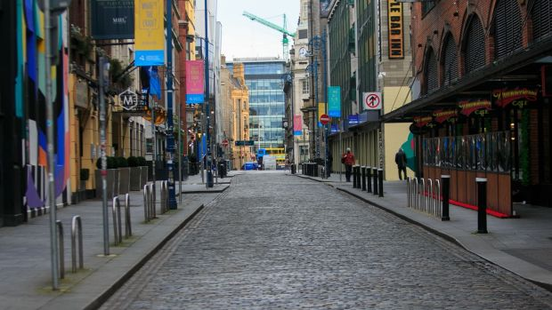 A quiet Temple Bar, Dublin on Friday during the Level 5 lockdown. Photograph: Gareth Chaney/Collins