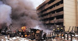 Firemen at the site of a huge bomb explosion that shook a bank building and US embassy in central Nairobi, Kenya, on  August 7th, 1998. File photograph: EPA