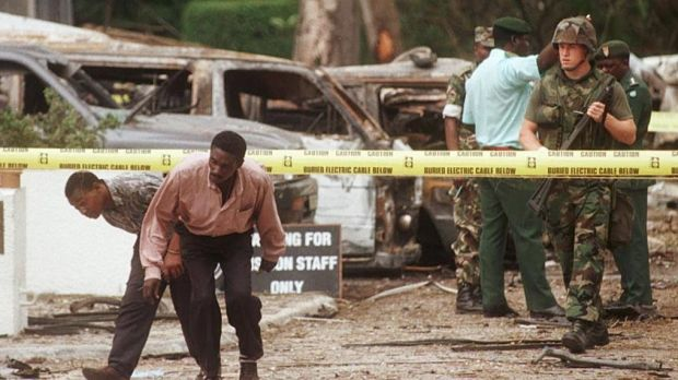 A US soldier in front of the US embassy in Dar es Salaam, Tanzania, the site of a bomb blast on August 7th, 1998. Abdullah Ahmed Abdullah was accused of masterminding that attack. File photograph: Amr Nabil/AFP/Getty