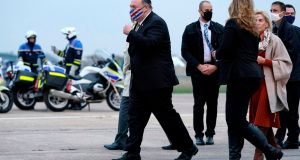 US secretary of state Mike Pompeo walks to a motorcade vehicle after stepping off a plane at Paris Le Bourget Airport on Saturday, November 14th, 2020. Photograph: Patrick Semansky/AFP/Getty