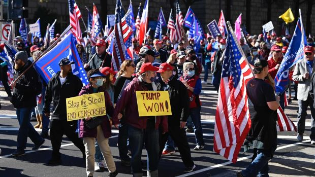 Supporters of US President Donald Trump rally in Washington, DC, on November 14th, 2020. Photograph: Andrew Caballero-Reynolds/AFP/Getty