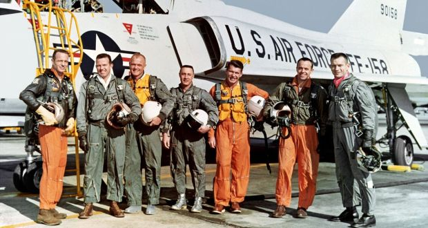 The Mercury Seven – Scott Carpenter, Gordon Cooper, John Glenn, Gus Grissom, Wally Schirra, Alan Shepard and Deke Slayton – in Tom Jennings's The Real Right Stuff