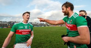Mayo's Cillian O'Connor and Aidan O'Shea celebrate after their side's narrow victory over Galway in the Connacht final. Photograph: James Crombie/Inpho