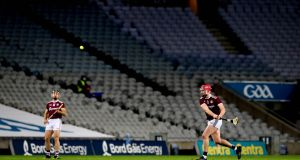 Galway's Joe Canning takes a late free during the Leinster SHC final against Kilkenny. Photo: Ryan Byrne/Inpho