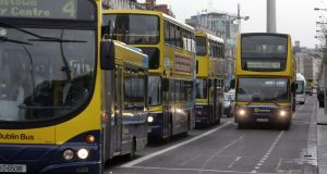 Hand sanitiser pilot schemes underway on buses. Photograph: The Irish Times