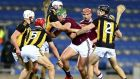 Galway's Niall Burke is tackled by Kilkenny's Huw Lawlor in the Leinster hurling final at Croke Park on Saturday. Photograph: Ken Sutton/Inpho
