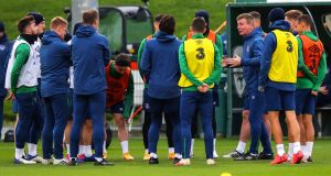 Manager Stephen Kenny speaks to his team during Ireland training ahead of the Nations League match against Bulgaria. Photo: Ryan Byrne/Inpho