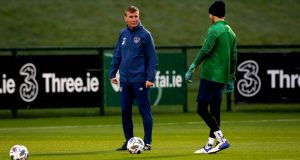 Ireland manager Stephen Kenny at training ahead of the Nations League meeting with Bulgaria. Photo: Ryan Byrne/Inpho