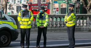 Gardai at a checkpoint on O'Connell Bridge  in Dublin this week. Photograph: Gareth Chaney/Collins