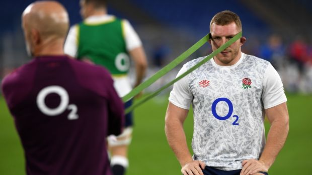 Sam Underhill warms up ahead of England's Six Nations win over Italy in Rome. Photograph: Getty