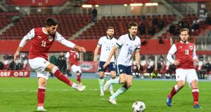 Austria's  Adrian Grbic  scores a goal during the Uefa Nations League League Group B1  match against Northern Ireland  in Vienna. Photograph: Christian Bruna/EPA