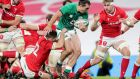 Ireland's James Lowe scores a debut try against Wales. Photograph: Laszlo Geczo/Inpho