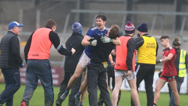 Cavan players celebrate the Ulster semi-final victory over Armagh at the Athletic Grounds. Photograph: Matt Mackey/Inpho