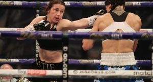 Katie Taylor in action against  Miriam Gutierrez during last Saturday's fight at the Wembley Arena. Photograph: Mark Robinson/Inpho/Matchroom Boxing