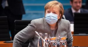 German chancellor Angela Merkel at a cabinet meeting in Berlin on Wednesday. Photograph: Andreas Gora/Pool/EPA