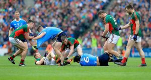 Tempers flare during the 2016 All-Ireland final replay between Dublin and Mayo at Croke Park. Photograph:  Ryan Byrne/Inpho