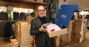 Best Menswear managing director John Smith, with online orders ready for dispatch from the company's Jervis Shopping Centre store. Photograph: Nick Bradshaw