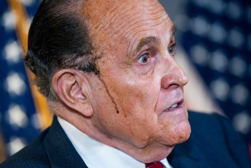 Former mayor of New York City and Trump aide Rudy Giuliani speaks about the president's legal challenges to his election loss to president-elect Joe Biden. Photograph: Jim Lo Scalzo/EPA