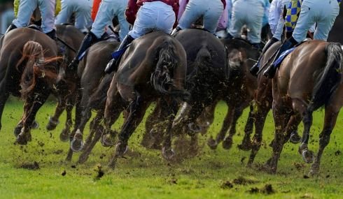 Runners on the turn at Wincanton racecourse. Photograph:  Alan Crowhurst/PA