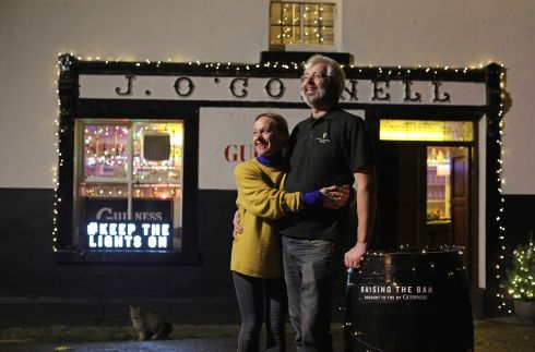 Rachael O'Connell and her husband Tom at J O'Connell's in Skryne Co Meath, the pub from the Guinness Christmas TV advert, at the launch of #Keepthelightson. Photograph: Julien Behal