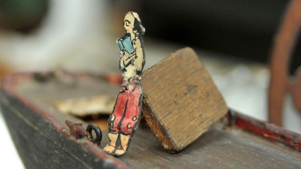 Wood conservators at Conservation Letterfrack in Co Galway discovered a model of a Jack B Yeats creation, Theodore the Pirate, in one of the toy boats they were restoring. Photograph: Heike Thiele