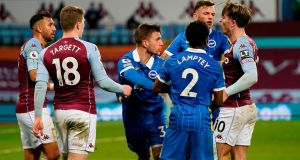 Tempers flare during Brighton's win over Aston Villa. Photograph: Tim Keeton/Getty/AFP