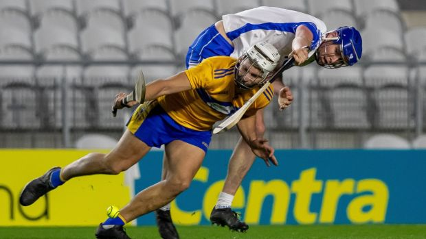 Waterford's Conor Prunty challenges Aaron Shanagher of Clare during the during the All-Ireland SHC quarter-final at Páirc Uí Chaoimh. Photograph: Morgan Treacy/Inpho