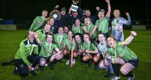 Peamount United's players and staff celebrate after securing the FAI Women's National League title after victory over Shelbourne at Peamount United FC in Newcastle, Co Dublin. Photograph:  Ken Sutton/Inpho