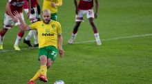 Norwich City's Teemu Pukki scores from the spot during the  Championship match against Middlesbrough at the Riverside Stadium. Photograph:  Richard Sellers/PA Wire