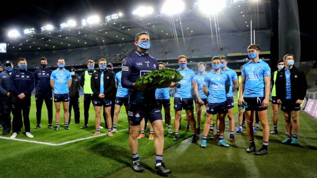 Dublin captain Stephen Cluxton lays a wreath in memory of Bloody Sunday at Croke Park. Photograph: Ryan Byrne/Inpho