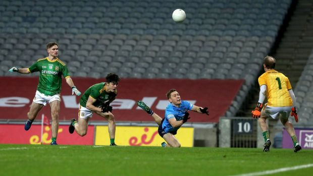 Dublin's Con O'Callaghan scores a point against Meath at Croke Park. Photograph: Bryan Keane/Inpho