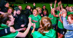 Peamount celebrate after securing the title. Photograph: Ken Sutton/Inpho