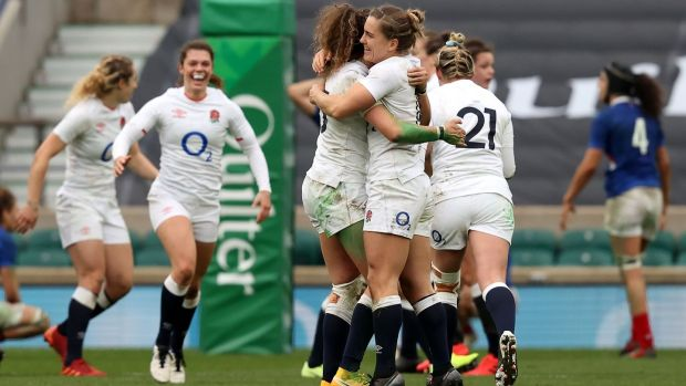England women celebrate their win over France. Photograph: Adrian Dennis/Getty/AFP