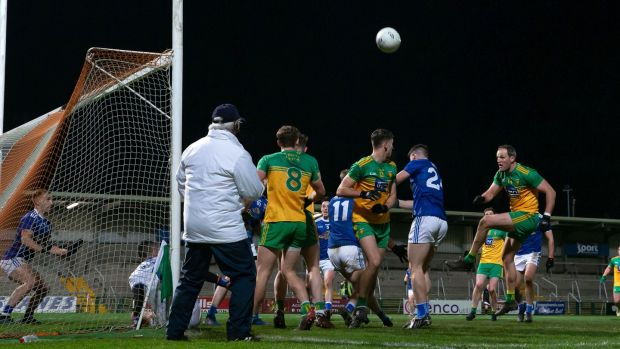 Michael Murphy is denied towards the end of Donegal's defeat to Cavan. Photograph: Morgan Treacy/Inpho