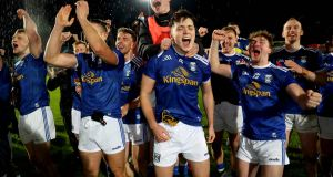 Cavan celebrate their Ulster final win over Donegal. Photograph: Ryan Byrne/Inpho