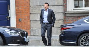 "Tánaiste and Minister for Enterprise, Trade and Employment, Leo Varadkar said he was meeting the Government's Low Pay Commission this week, and suggested he would be directing the commission to recommend the phasing in of a so-called living wage which would be ""substantially higher"" than the minimum wage from 2022. .Photograph: Dara Mac Dónaill / The Irish Times"