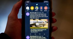 Twitter's new fleets occupy a chunk of the app's timeline screen whether you want them to or not. Photograph: Gabby Jones/Bloomberg