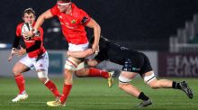 Munster's Gavin Coombes passes to Craig Casey during their team's win over Glasgow. Photograph: Inpho