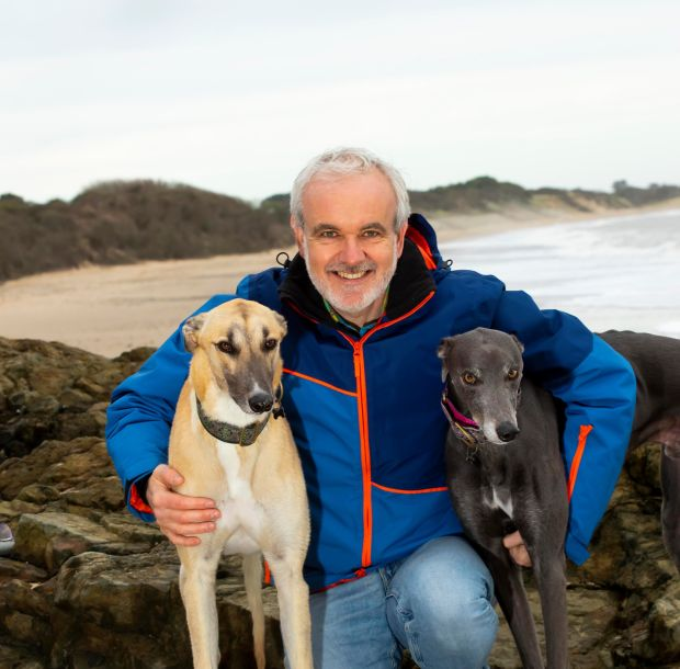 Colm O'Gorman with Jake and Oscar. Photogrpah: Mary Browne